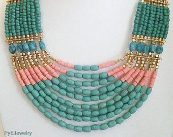 Verde azulado azul y oro largo declaración collar / collar de