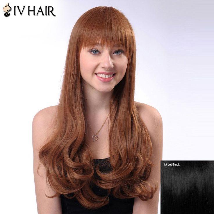 $83.55 Long Human Hair Shaggy Wavy Siv Hair Capless Full Bang Wig