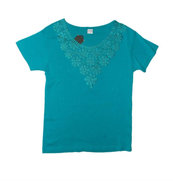 Бирюзовая блузка с кружевной вставкой