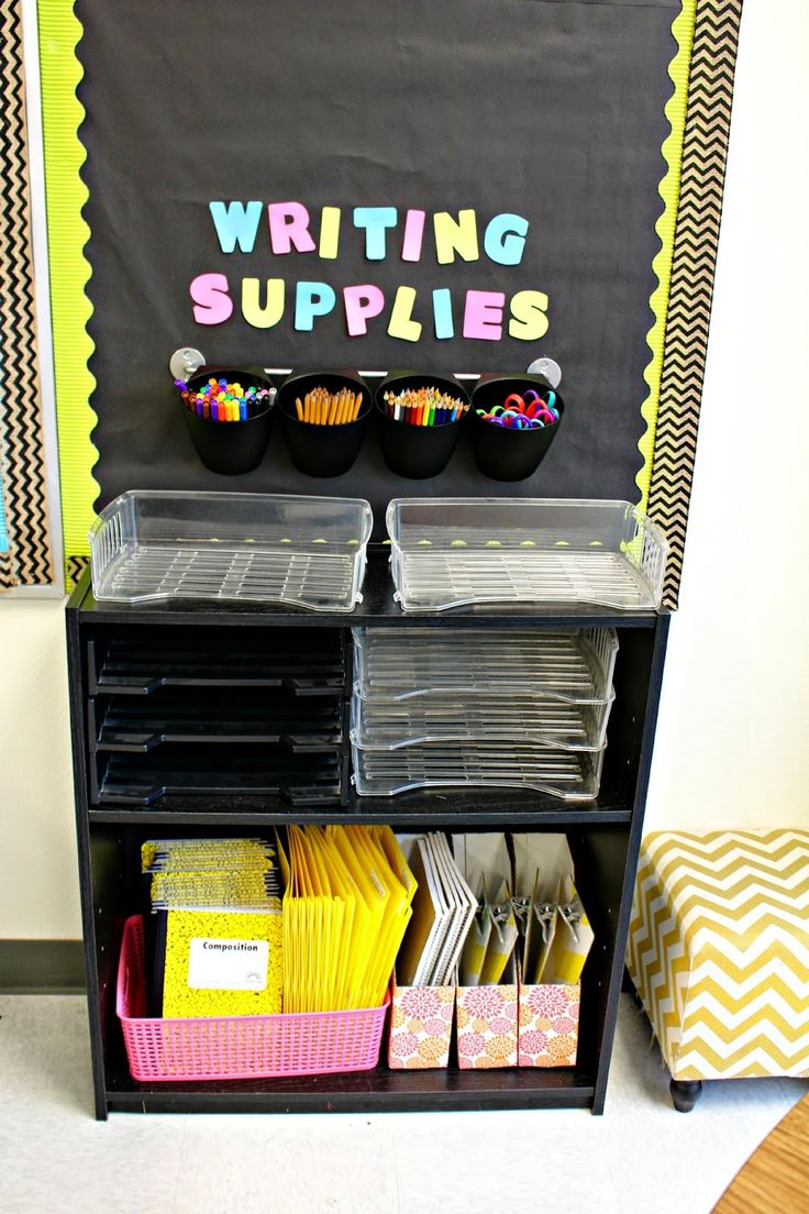 I love this writing supply station from Reagan Tunstall's Classroom Tour 2014-2015.