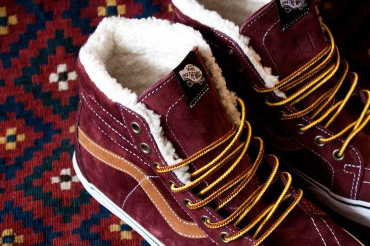 #Vans Sk8 Hi Fleece Burgundy with fur #Sneakers
