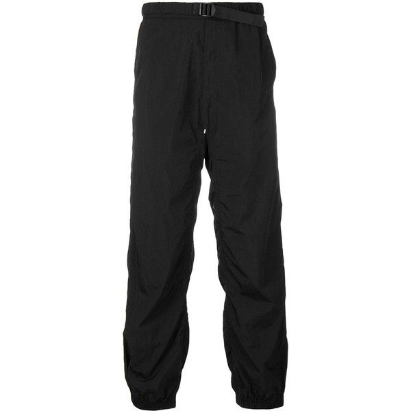 Alexander Wang belted trousers ($367) ❤ liked on Polyvore featuring men's fashion, men's clothing, men's pants, men's casual pants, black, mens stretch waist pants, mens nylon pants, mens elastic waist pants and mens elastic waistband pants