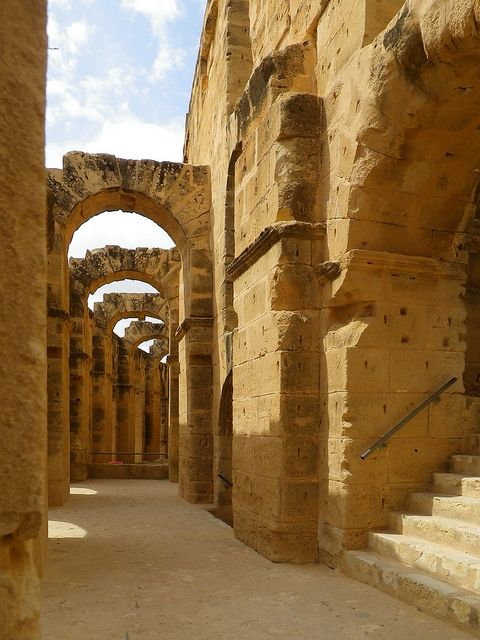 Under the arches of the colosseum, El Jem, Tunisia (by Moonlight Witch).