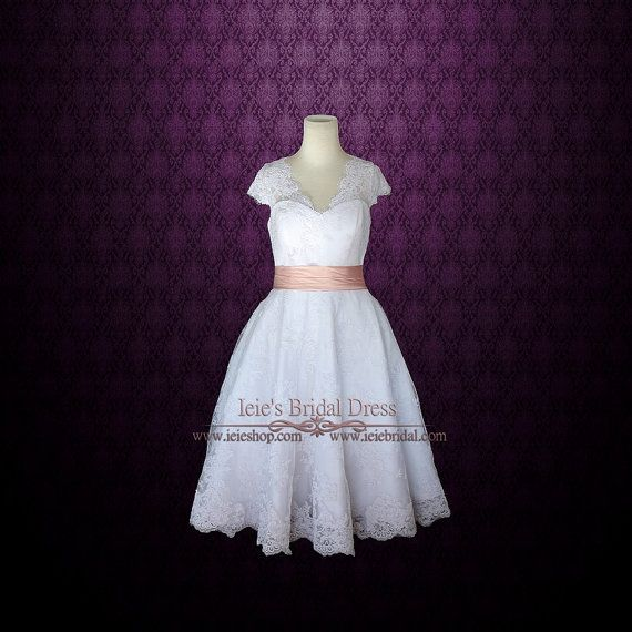 Retro 50s Tea Length Lace Wedding Dress with Short Sleeves by ieie