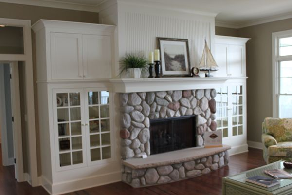 Fireplace / built ins: Stones Fireplaces, Basements Fireplaces, Rocks Fireplaces, Fireplaces Built In, Built Ins Fireplaces, Families Rooms, Glasses Doors, Fireplaces Makeovers, Fireplaces Rivers Rocks