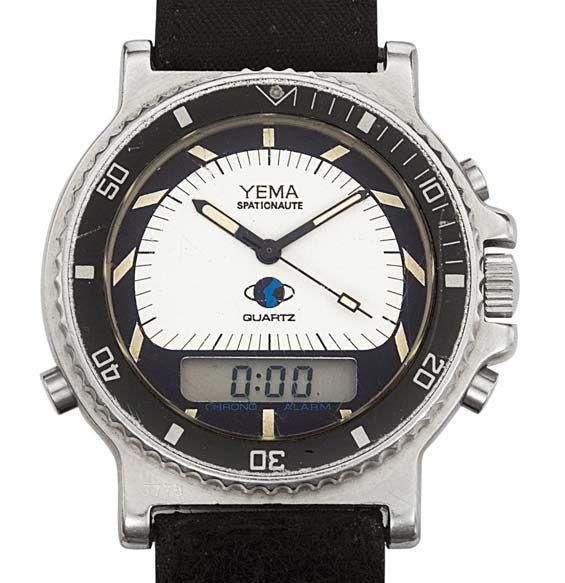 Yema La «Spationaute I» En juin, eut lieu le premier vol orbital français du spationaute Jean-Loup Chrétien. A son poignet ? La «Spationaute I» . Créée spécialement pour l'occasion (mouvement quartz, double affichage, boîtier et lunette en acier inoxydable), elle sera la première montre française à voler dans l'espace. Yema devient, alors, le fournisseur officiel du CNES (Centre National d'Etudes Spatiales).