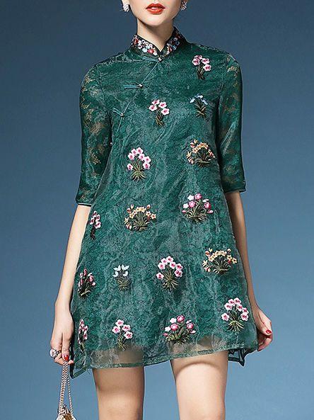 Embroidered Organza Mini Dress