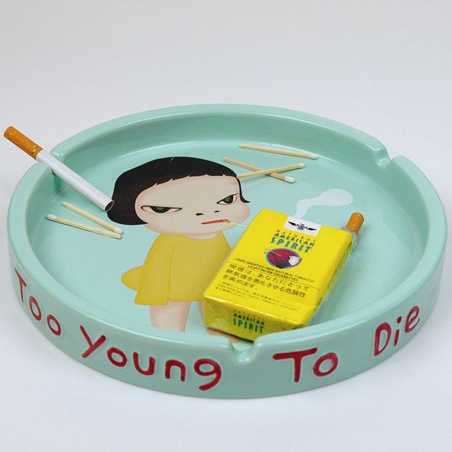 Fancy - Too Young To Die Ashtray by Yoshitomo Nara, $80. This artist is actually has an exhibit at the local museam.
