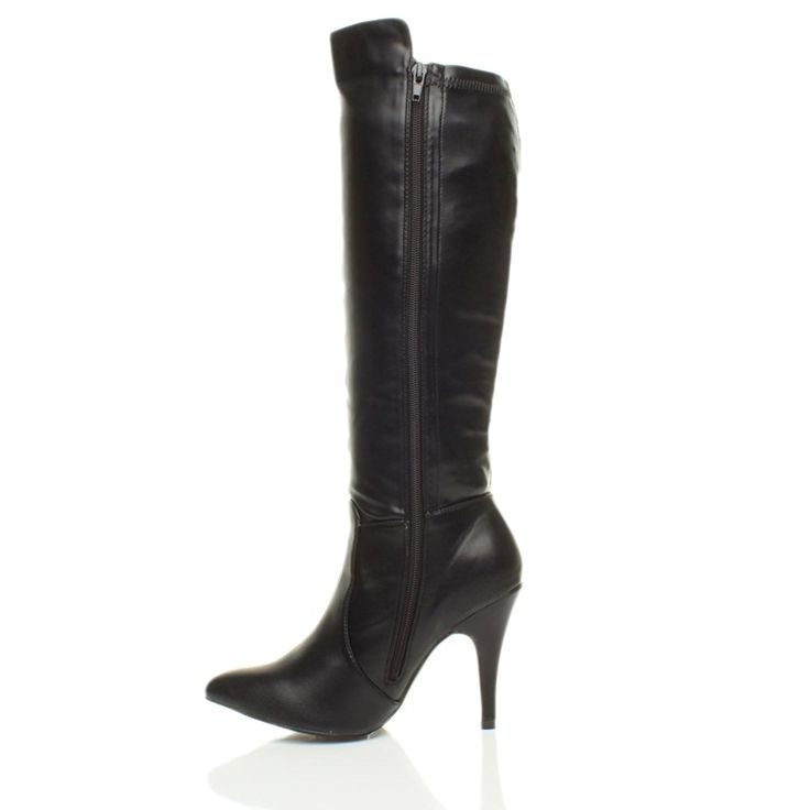 Ajvani Women's High Heel Pointed Calf Boots Size >>> Click image to read more details. #shoeoftheday