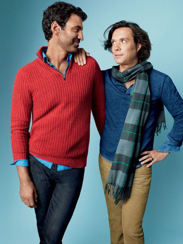 """Jorn Weisbrodt and Rufus Wainwright in Gap ad representing """"married love."""""""