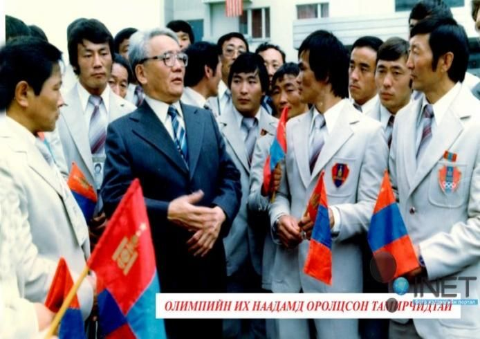 Tsedenbal with the mongol olympic team (maybe 1980).