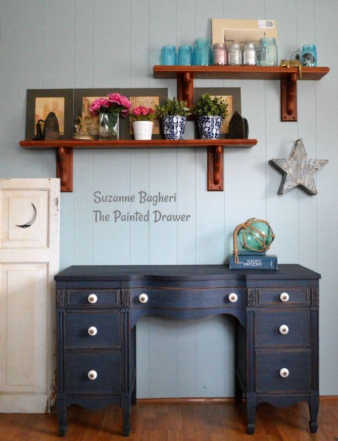 Coastal Blue Vintage Desk Before And After With Images Blue Vintage Desk Vintage Desk Blue Desk