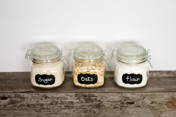 "12 Fancy Chalkboard Labels Small 1-1/2"" x 2-1/2""  JAMIE for Storage Organization Weddings Elegant Mason Jar Label"