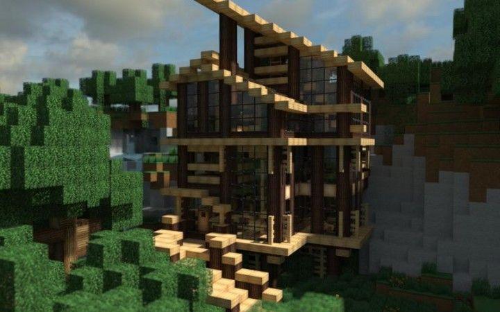 Modern Minecraft Wooden Mansion 720 450 Minecraft