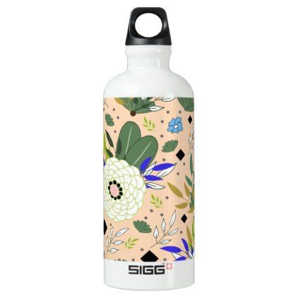 #Blush Modern Floral Pattern Water Bottle - #elegant #gifts #stylish #giftideas #custom