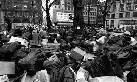 "Piles of bin bags from the 1979 ""Winter of Discontent"" when public services were under sustained assault from the government.  Boys uses overflowing bin-liners as a powerful visual metaphor for politics, of the group and of the Public Imaginary."