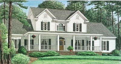 4 bedroom, 3.5 bath, 2 story, 2 garage, house plan country farmhouse