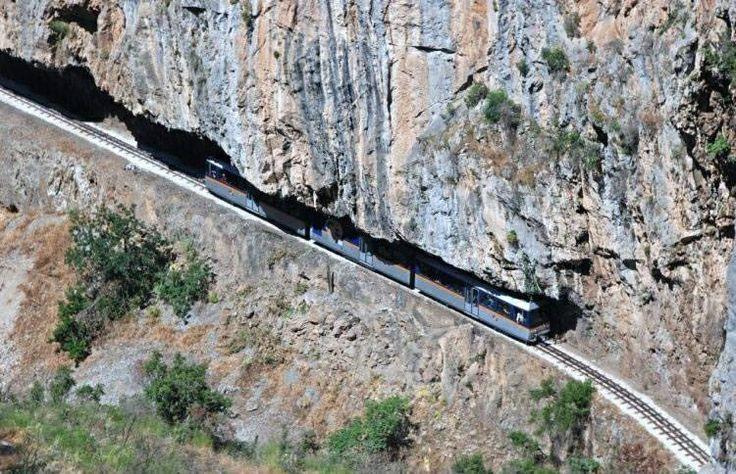 Odontotos rack railway Diakopto-Kalavrita under the shadow of Helmos mountain I was there in 2000 Awesome view!
