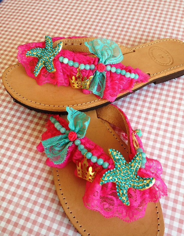 Handmade leather sandals decorated with fuchsia lace, turquoise semiprecious stones, turquoise starfish and gold charms