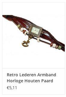 Retro Lederen Armband Horloge Houten Paard € 5,11 www.ovstore.nl/nl/meer-categorieen/sieraden/horloges/