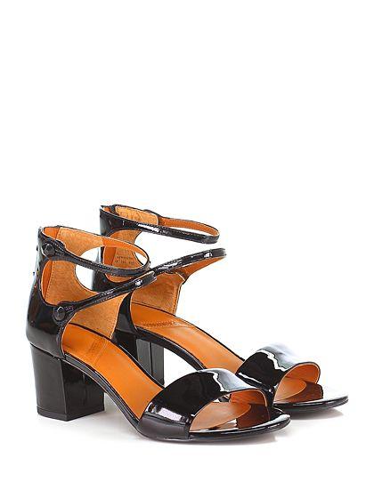 What for - Sandalo alto - Donna - Sandalo alto in vernice con doppio cinturino alla caviglia e chiusura a bottone a pietra. Suola in gomma, tacco 60. - BLACK - € 135.00