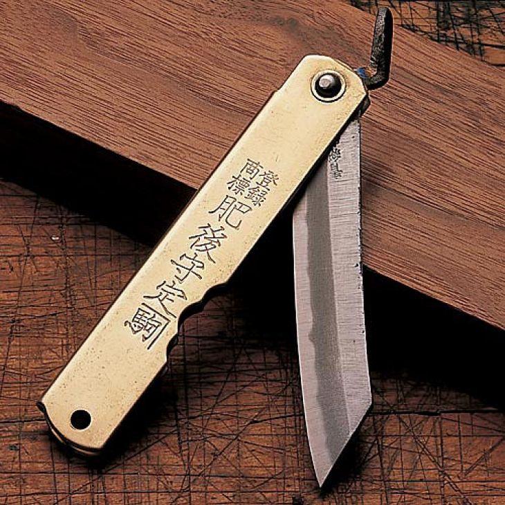 Japanese Pocket Knife: Brass Japanese Folding Knife, Japanese Knives - Garrett Wade