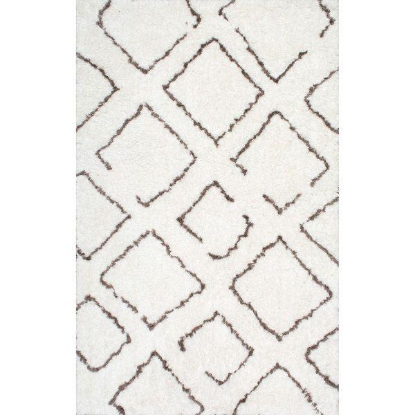 nuLOOM Soft and Plush Moroccan Trellis Ivory Brown Shag Rug (9' x 12')