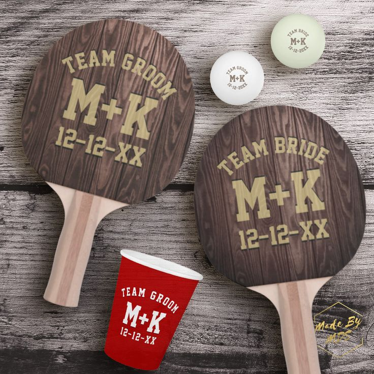 Wedding ping pong! Click through to see rustic table tennis bats, balls and more. Great game to play at your wedding