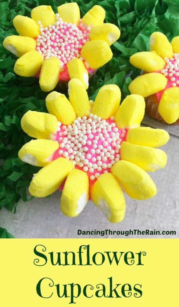 Flower Cupcakes For Spring - Be sure to make these flower cupcakes for spring! Using bunny Peeps, this easy dessert is something that anyone can bake!