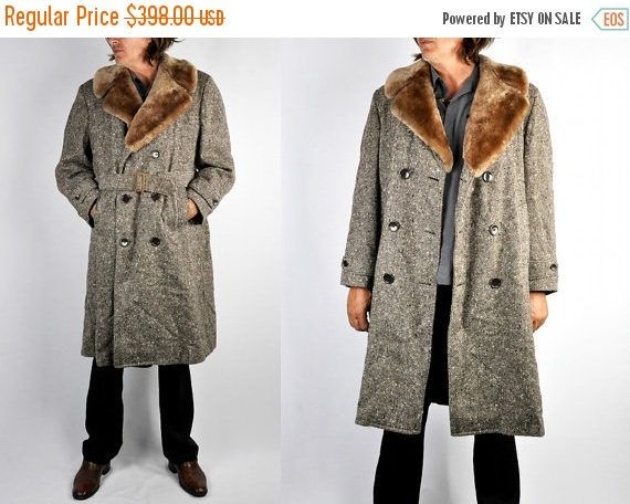 30% OFF SALE Vintage 60s Mens WOOL Coat with Mouton Fur Collar