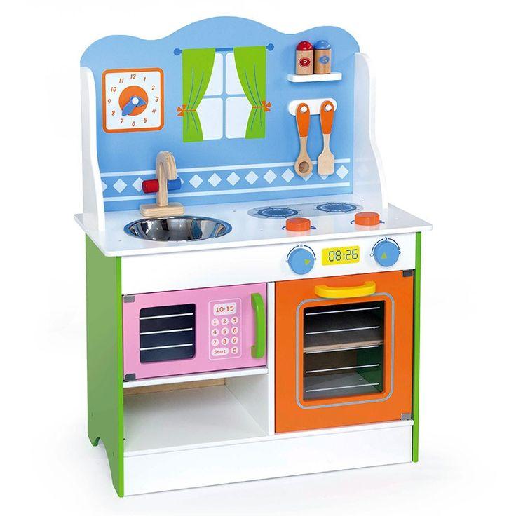 Een mooie volledig in kleur afgewerkte speelkeuken. De keuken bestaat uit een kookplaat met bakoven er onder, een aanrecht met er onder een magnetron + opbergruimte en een opstand/achterwand met klok en lepels + peper en zoutstel. Alle knoppen klikken als je er aan draait. De keuken is 60cm breed, 30cm diep en 80cm hoog. De werkhoogte is 50cm.Wordt ongemonteerd geleverd!(eenvoudige montage) - Vigatoys Speelkeuken kleur