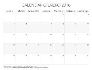 Calendarios 2016 para imprimir: Calendario Enero 2016