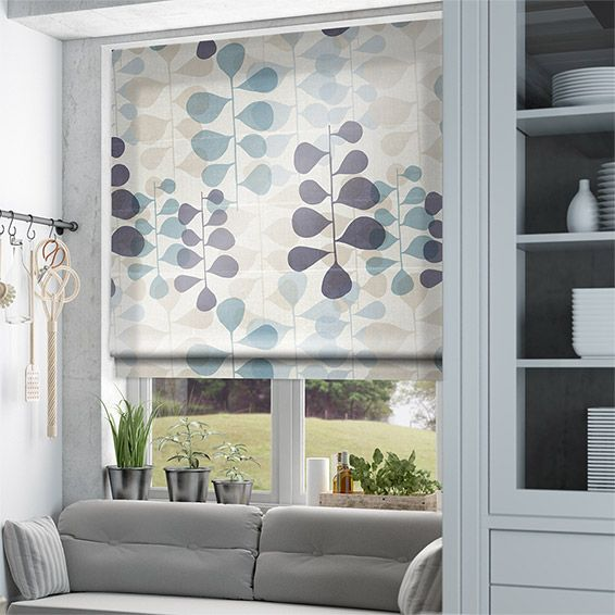 Blooming Meadow Faux Silk Blue Roman Blind from Blinds 2go