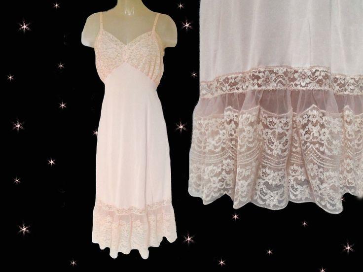 Vintage Pink Slip Womens, 50s Vintage Pink Nylon Slip, 1950s Full Midi Slip, Vintage Van Raalte, Pink Slip with Lace, 50s Retro Lingerie by LunaJunctionVintage on Etsy