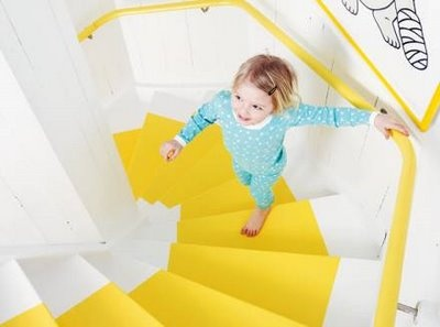 I have been thinking of just a simple painted stair runner on white stairs. Maybe in a fun color.