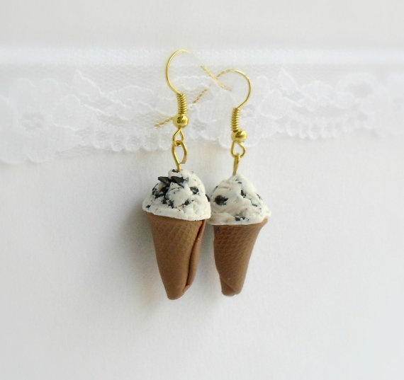 Ice cream earrings Polymer Clay jewelry by DivineDecadance on Etsy, $16.00