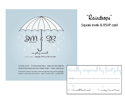 Raindrops keep falling on my head - cute wedding invite and rsvp card for that autumn or winter wedding!