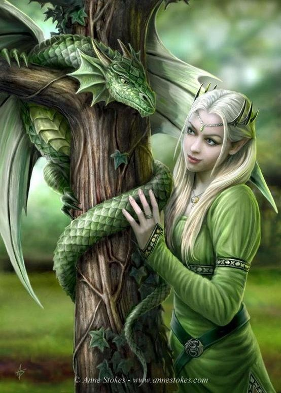 Tree dragon and maiden.