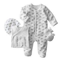 Kit naissance 1M 4 pièces body, pyjama, bonnet et gants