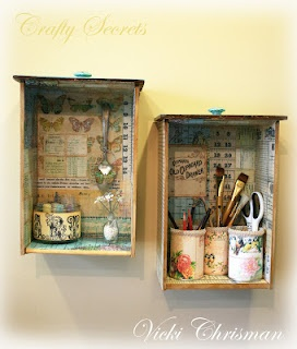Drawer shelves/shadow boxes decoupaged.