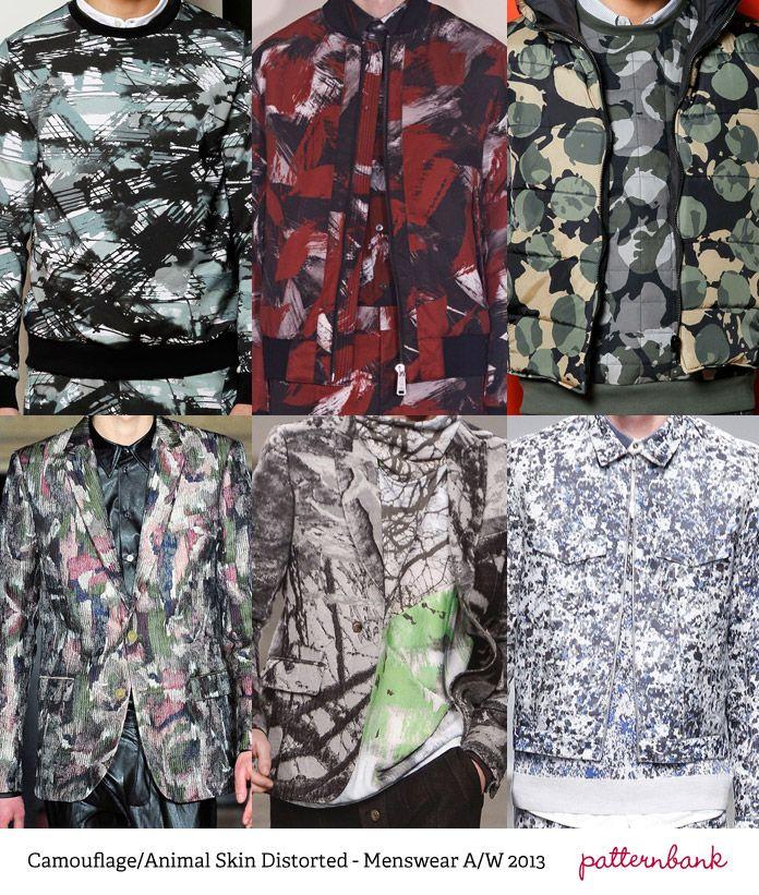 Menswear Print Trends – Autumn/Winter 2013 Camouflage/Animal Skin Distorted.
