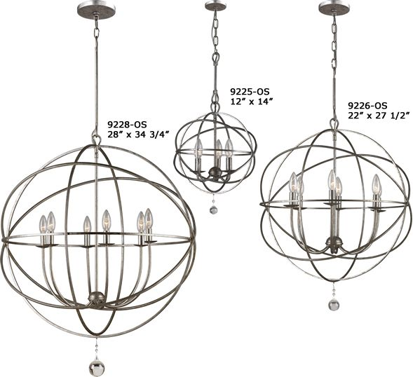 LIGHT: Biggest One.   How to pick the right size light for the room: width of the room divided by 1/3 = diameter of the light fixture  Crystorama Solaris Collection - Brand Lighting