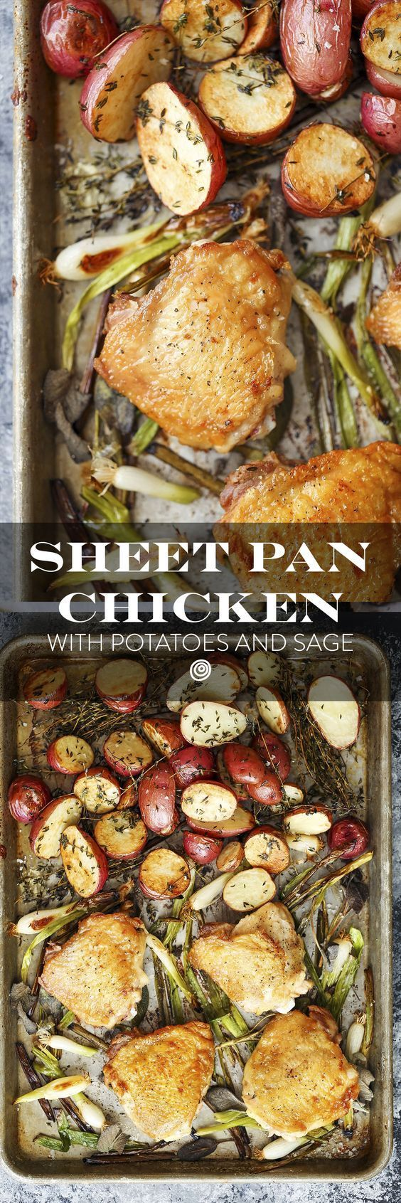 Sheet Pan Herbed Chicken Thighs with Roasted Potatoes and Sage Recipe. Sheet pan dinners and suppers are the ultimate in one pan recipes. This quick and EASY 30 minute dish is great for kids - picky eaters - and adults. Great for a weeknight meal or a sunday supper with your family. Comfort food at its finest, with an entree and a side dish all in one. Try with roasted chicken thighs or breasts this fall or winter. Whole30 / Whole 30 approved!