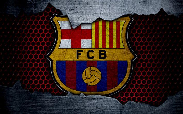 Hämta bilder FC Barcelona, 4k, La Liga, fotboll, emblem, Barcelona logo, Barcelona, Catalonia, Spanien, football club, metall textur, grunge