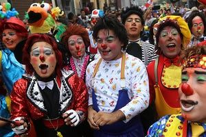 Clowns on parade during in Lima