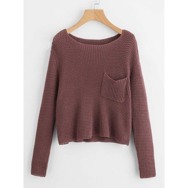 SheIn(sheinside) Pocket Front Jumper ($23) ❤ liked on Polyvore featuring tops, sweaters, coffee, cropped sweater, crop top, embellished crop top, red sweater and red crop top