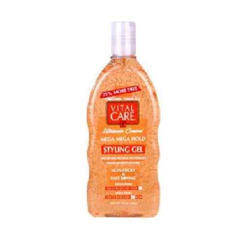 Vital Care Vital Care Gel Antigravedad  Net Wt. 24 Oz (680 G)E Este gel mantiene el cabello en su lugar a lo largo del  día. Le da mayor firmeza al cabello y un control excepcional. Le aporta un brillo increíble además de volumen y flexibilidad. No deja el cabello rigido ni pegajoso. Este producto protege el cabello con proteina de la Keratina y el panthenol. (Pro-vitamina B5 agente fortalecedor). Tiene una alta calificación en cuanto a resistencia a la humedad.