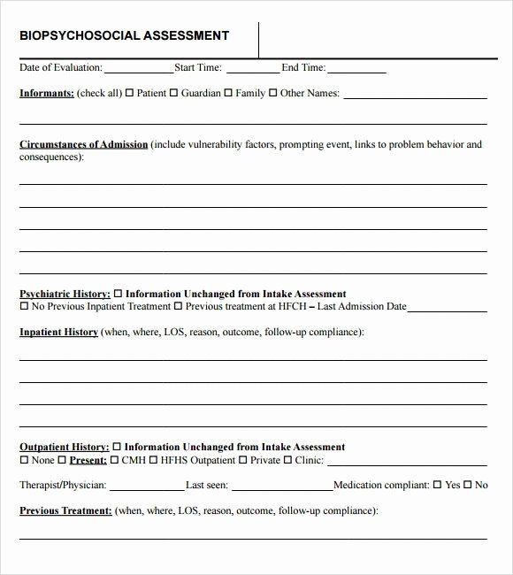 Social Work Assessment Form In 2020 Social Work Assessment