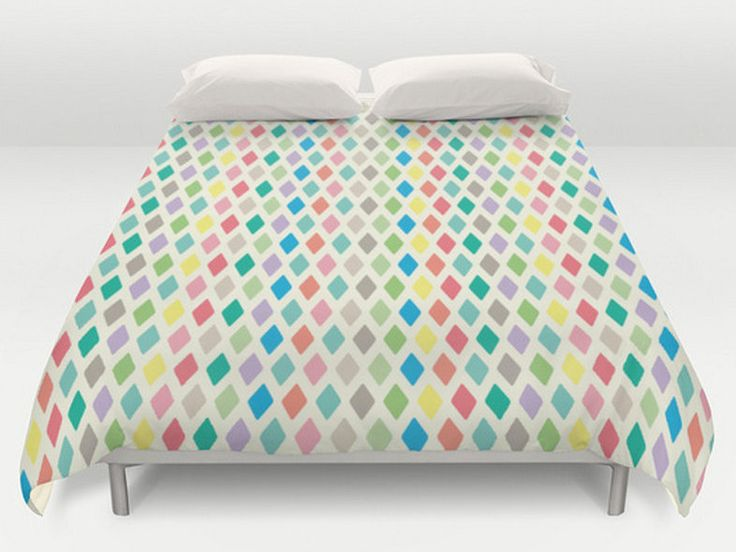Geometric Duvet Cover, Geometric Bedding, King Queen Full Twin, Size, Pattern Comforter, Colorful Bed Cover, Spring Duvets, Pastels by DesignMargarida on Etsy https://www.etsy.com/listing/232054111/geometric-duvet-cover-geometric-bedding