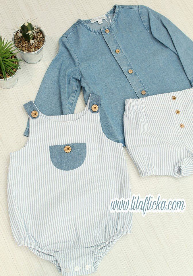a6e9093a4a Comprar conjunto de camisa vaquera y ranita de rayas azules para niño bebé  de Fina Ejerique